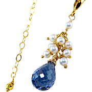 SALE London Blue Topaz- Cultured Round Pearl Cluster   A+++ Pearl Gemstone Pendant Necklace- 1