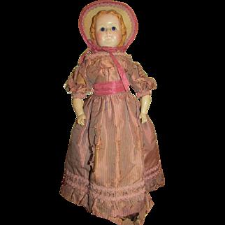 "REDUCED 1860's – 1870's Rare 20"" Wax over Paper Mache Doll"