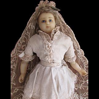 """SALE 1870's Antique Poured Wax 18"""" Bride Doll"""