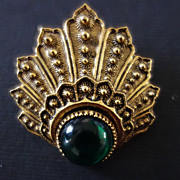 ART Gold-Tone Green Cabochon Dress/Scarf Clip
