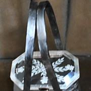 Lucite 1950s Pearlized Silver Gray Handbag