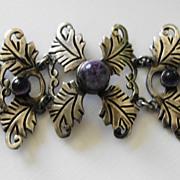 SALE Taxco Mexican Sterling 980 Silver Amethyst Bracelet