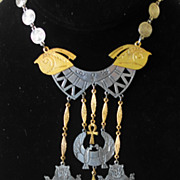 """ART"" Egyptian Revival Two-Tone Necklace"
