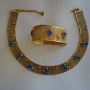 SALE HATTIE CARNEGIE Rare Mesh Blue Crystal Rhinestone Necklace & Bracelet