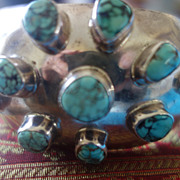 MEXICAN Sterling Silver Turquoise & Coral Cuff Bracelet