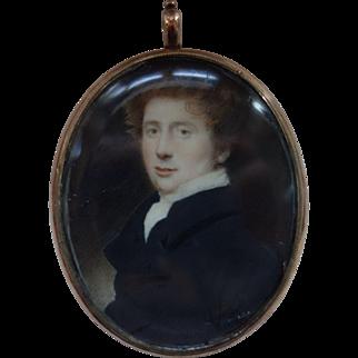 19TH Century Miniature Watercolor Portrait of a Young Man Pendant