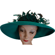 JACK McCONNELL Women's Green Wool Felt Hat With Green Ostrich Feathers & Scattered Rhinestones