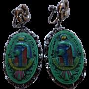 MAX NEIGER Czech Glass Egyptian Revival Pharaoh Earrings
