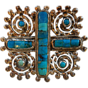 MATL (Matidle Poulat) Mexico Sterling Silver Turquoise-Colored Pendant Brooch