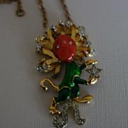 Rare DeNicola Lion Necklace With Bakelite, Enamel and Rhinestones