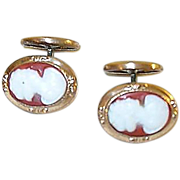 SALE Victorian Cuff Links Gold Filled & Stone Cameos