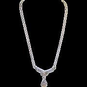 SALE Antique Art Nouveau Sterling & Gold Drop Necklace Rose Cut Diamonds 1885