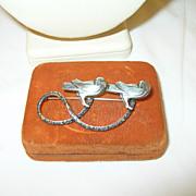 SALE Vintage Sterling Brooch Double Love Birds