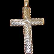 SALE Vintage Sterling Pendant Cross Chased Design