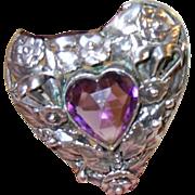 SALE Vintage Hobe Sterling Pendant Brooch Heart Shaped