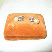 Vintage Sterling Earrings Marcasite & Faux Pearls
