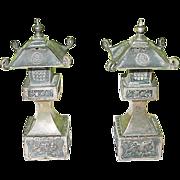 SALE Vintage Sterling Japanese Garden Lanterns Salt & Pepper