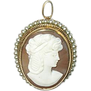 SALE Vintage Shell Cameo Brooch Pendant Gold Filled