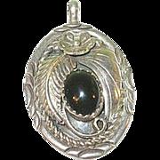 SALE Vintage Sterling & Black Onyx Pendant