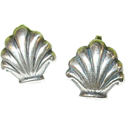 Vintage Sterling Earrings Oyster Shell Shape