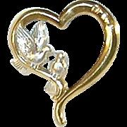 SALE Vintage Sterling & Vermeil Gorham Heart Shaped Pendant