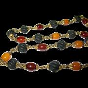 SALE Victorian Amber & Gutta Percha Bead Necklace