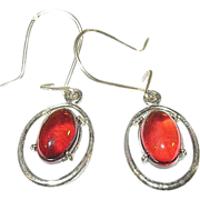 Vintage Sterling & Amber Drop Earrings