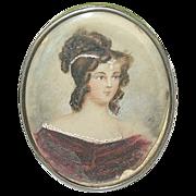 SALE Antique Miniature Portrait Painting Brooch 1820's by E.A.