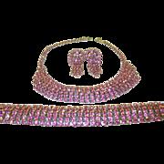 SALE Vintage Pink Rhinestone Necklace, Bracelet & Earring Set