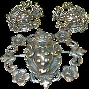 SALE Vintage Peruzzi 800 Coin Silver Earring & Brooch Set