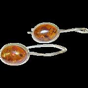 Vintage Sterling Amber Drop Earrings