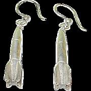 Vintage Sterling Drop Earrings Rockets