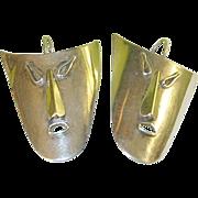 Vintage Sterling Earrings Large Theater Masks
