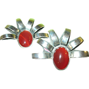 Vintage Sterling Large Carnelian Earrings Modernist Design