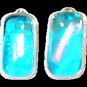 Vintage Sterling Art Glass Earrings