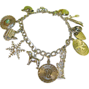 SALE Vintage Sterling Charm Bracelet 12 Charms