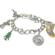SALE Vintage Monet Charm Bracelet 6 Sterling Charms