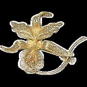 SALE Vintage 900 Coin Silver & Vermeil Flower Brooch Openwork