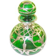 SALE Art Nouveau Green Perfume Bottle Silver Overlay