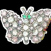 SALE Vintage Sterling Butterfly Brooch Pink & White Rhinestones