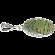 SALE Vintage Sterling Pendant Mother of Pearl
