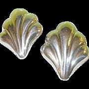 SALE Vintage Sterling Earrings Shell Design