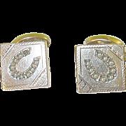 SALE Victorian Cuff Links Gold Filled Horse Shoe Design