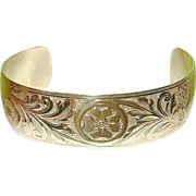 SALE Vintage Dane Craft Sterling & Vermeil Bracelet Chased Design