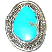 SALE Vintage Sterling & Turquoise Native American Pendant