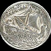 SALE Vintage Coin Silver 800 Brooch Viking Ship Design