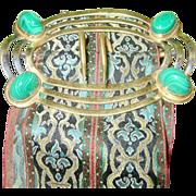SALE Vintage Gold Filled Malachite Belt Buckle Woven Silk Sash