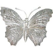 SALE Vintage Sterling Lg Butterfly Brooch Filigree Work