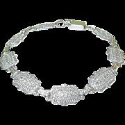 SALE Vintage Filigree Link Bracelet Silver Plate