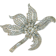 SALE Vintage Lg Rhinestone Flower Brooch